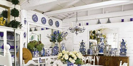 white and blue chinoiserie dining room created from a garage in berkeley