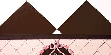 floor cloth painted by joyce danko in pink and brown pennsylvania kitchen