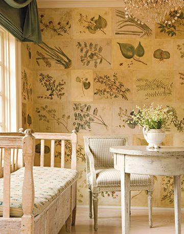 sunroom with hand colored dutch engravings and swedish antique furniture