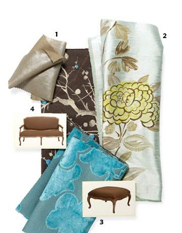 Fabrics from Designers Guild's new Oriental Gardens collection.