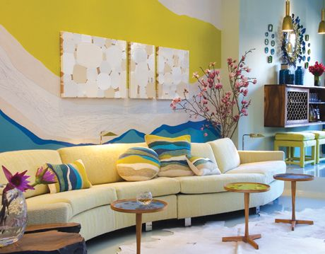 Decorative Wall Sculpture and Custom Covered Sofa
