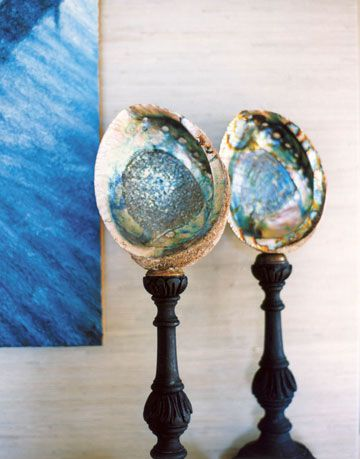 blue abalone shells on finials