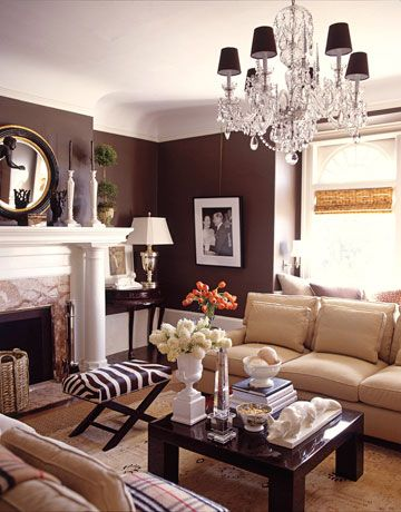 Brown Home Decor Ideas By Demattei And Wade. Modern Brown And White Living  Room ...