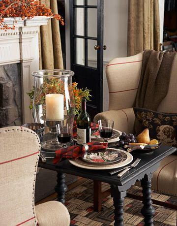 Who says dinner has to be in the dining room or the kitchen? Cozy up next to a warm fire for supper.
