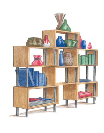 illustration of shelves