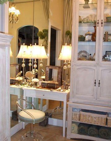 a corner vanity