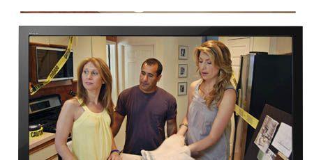 tv with screenshot of genevieve gorder