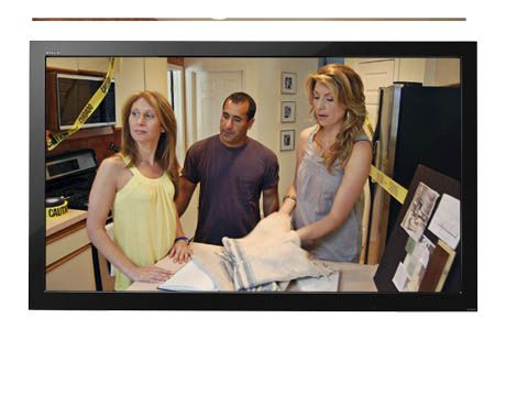 tv with screenshot of genevieve gorder