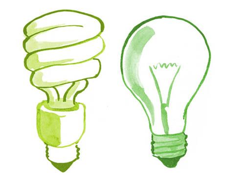 illustration of green bulb and regular bulb