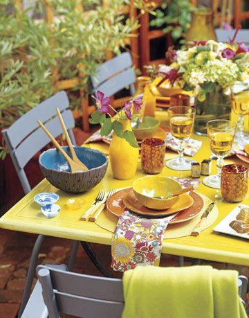 bright and colorful outdoor table setting