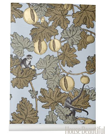 fornasetti design print wallpaper in blue and gold colors