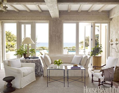 ocean front living room in neutrals