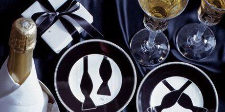 black and white tuxedo dishes
