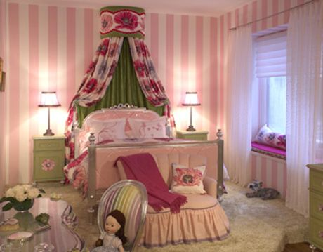 pink green and white girls bedroom