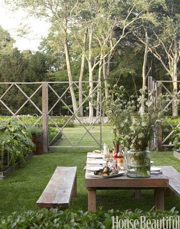 vegetable garden and outdoor dining table