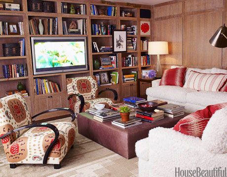 red white and wood media room