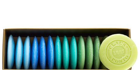 box of colorful soaps
