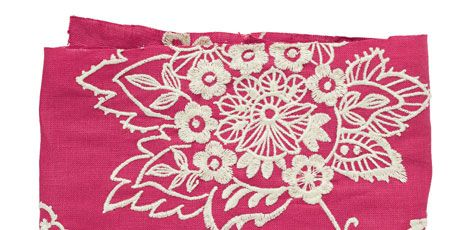 bright pink and white embroidered fabric