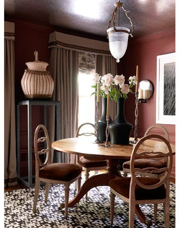 mostly neutral and brown toned dining room