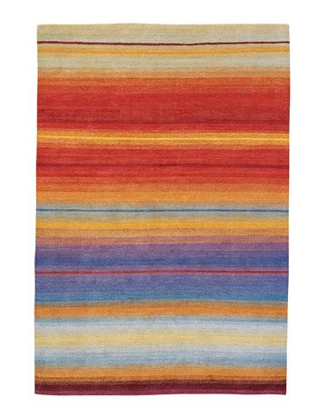 softly striped rug in sunset shades