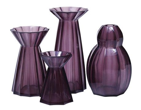 purple glass vase set