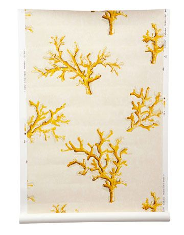 wallpaper with off white background and yellow coral inspired pattern