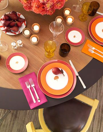 orange and pink table setting