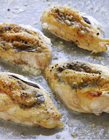 stuffed chicken being cooked