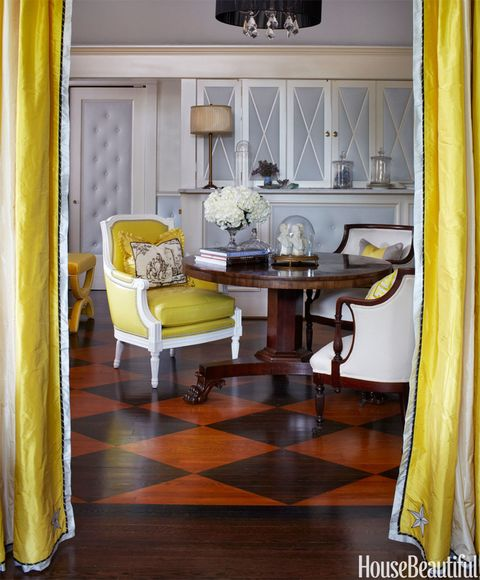 foyer with diamond pattern flooring