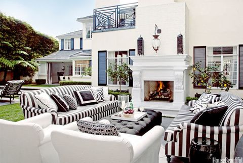 outdoor white fireplace