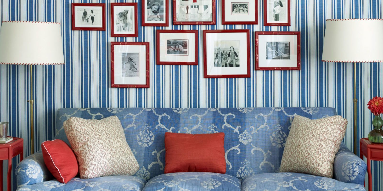 blue and white striped office & Patriotic Decor for 4th of July - Red White and Blue Decorating Ideas