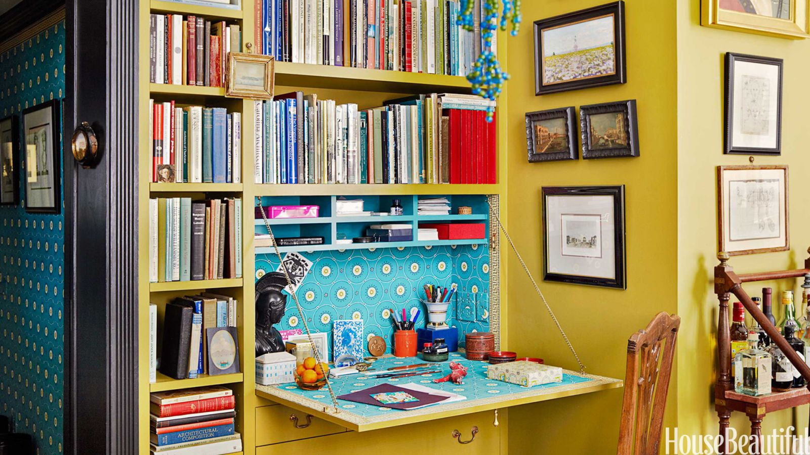 yellow bookshelf desk