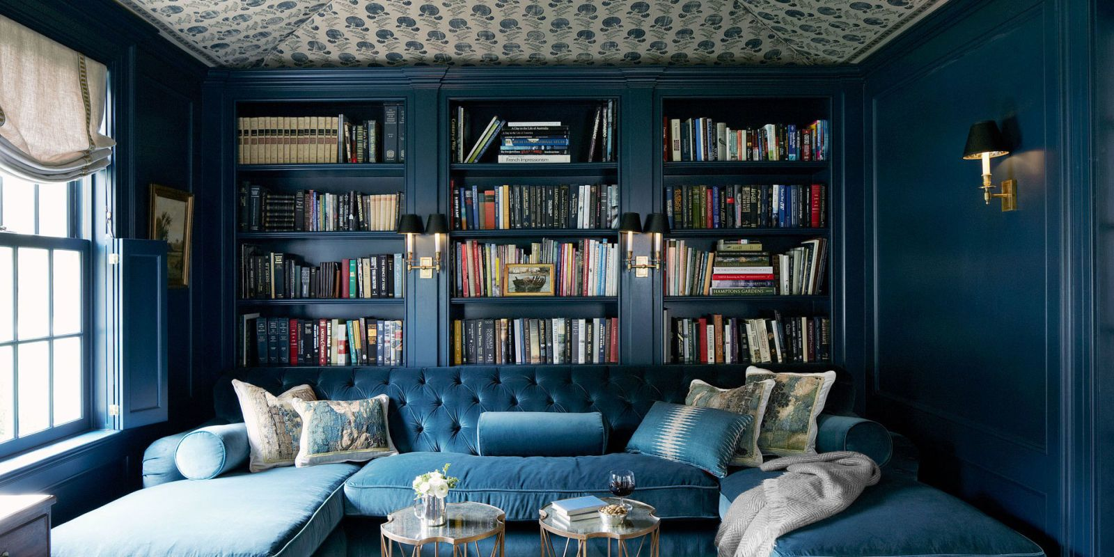 blue velvet tufted sofa & Home Library Design Ideas - Pictures of Home Library Decor