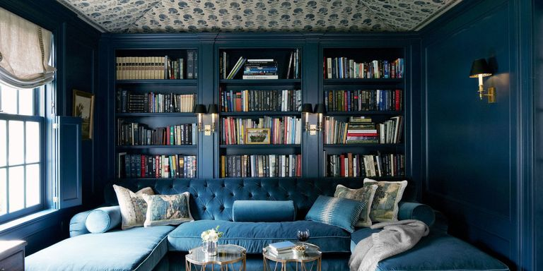 blue velvet tufted sofa - Library Design Ideas