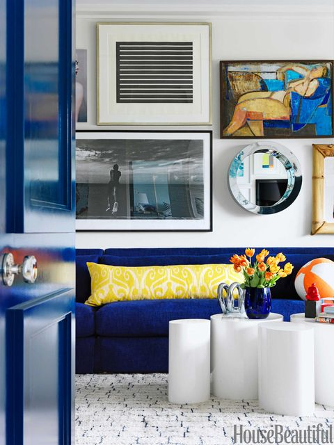 bright blue linen sofa