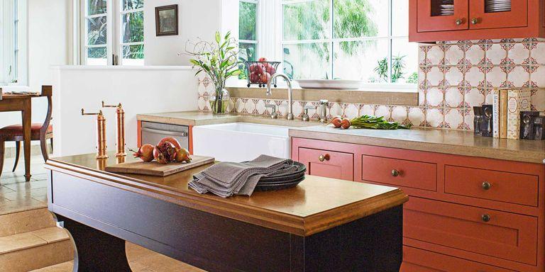A Bold, Burnt Orange Kitchen in Hillsborough, California