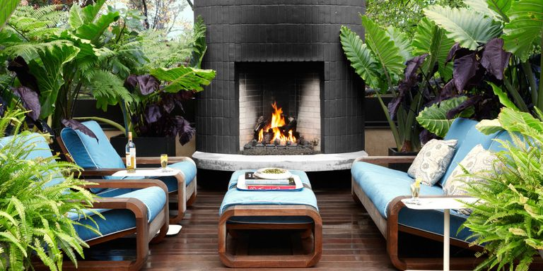 outdoor living room designs. Rooftop Fireplace Indoor Outdoor Rooms  Room Decorating Ideas