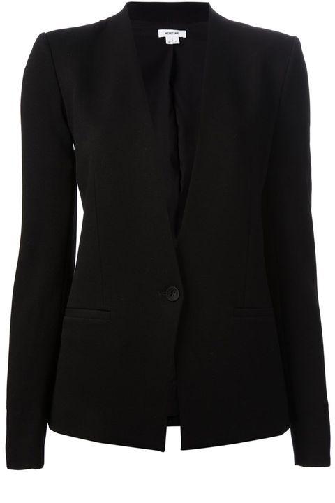 """<strong>Helmut Lang</strong> blazer, $776,<a href=""""http://www.farfetch.com/shopping/women/helmut-lang-grist-blazer-item-10876378.aspx?storeid=9363&amp;ffref=lp_7_""""> farfetch.com</a>."""