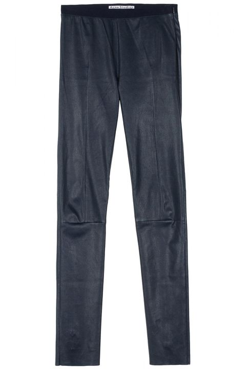 "<strong>Acne </strong>leggings, $552, <a href=""http://shop.harpersbazaar.com/designers/acne-studios/clean-leather-pants/"">shopBAZAAR.com</a>."