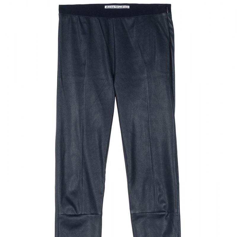 "<strong>Acne </strong>leggings, $552, <a href=""http://shop.harpersbazaar.com/designers/acne-studios/clean-leather-pants/"">shopBAZAAR.com</a>."