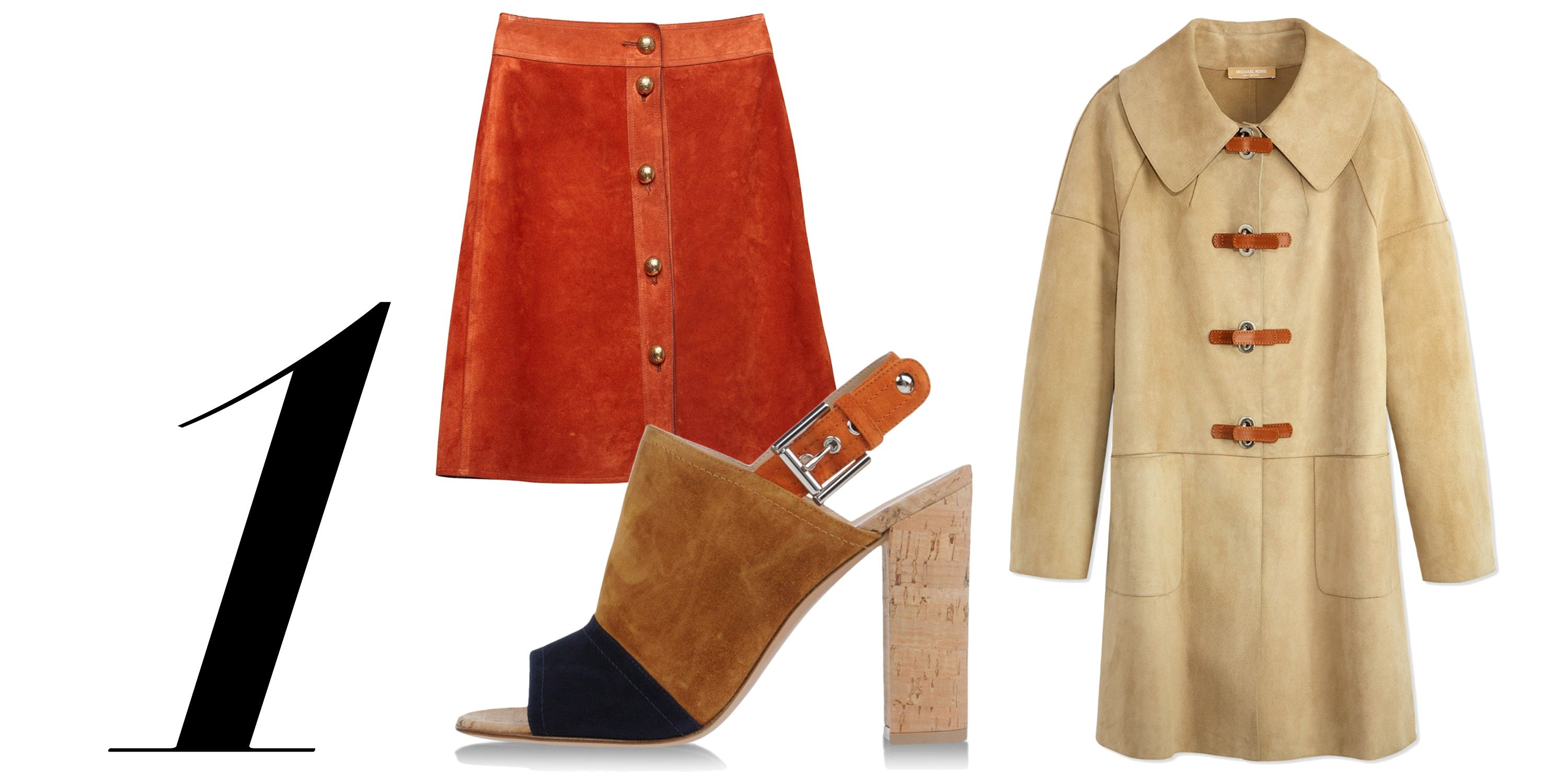 "Find the softer side of haute hides with rich, sumptuous suede.  <em>Michael Kors coat, $6,995, <a href=""http://shop.harpersbazaar.com/designers/michael-kors/suede-turn-lock-coat/"" target=""_blank"">shopBAZAAR.com</a>; Gucci skirt, $1,990, <a href=""http://shop.harpersbazaar.com/designers/gucci/suede-button-skirt/"" target=""_blank"">shopBAZAAR.com</a>; Gianvito Rossi heel, $695, <a href=""http://shop.harpersbazaar.com/designers/gianvito-rossi/color-block-suede-cork-slingback-sandal/"" target=""_blank"">shopBAZAAR.com</a>.</em>"