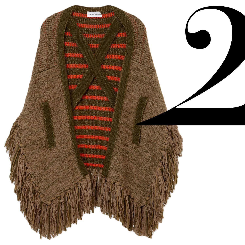 "The knit cape carries through to the new season, especially with the addition of boho fringe.<em>Sonia Rykiel poncho, $1,210,&nbsp&#x3B;<a href=""http://shop.harpersbazaar.com/designers/sonia-rykiel/fringed-knit-poncho/"" target=""_blank"">shopBAZAAR.com</a>.</em>"