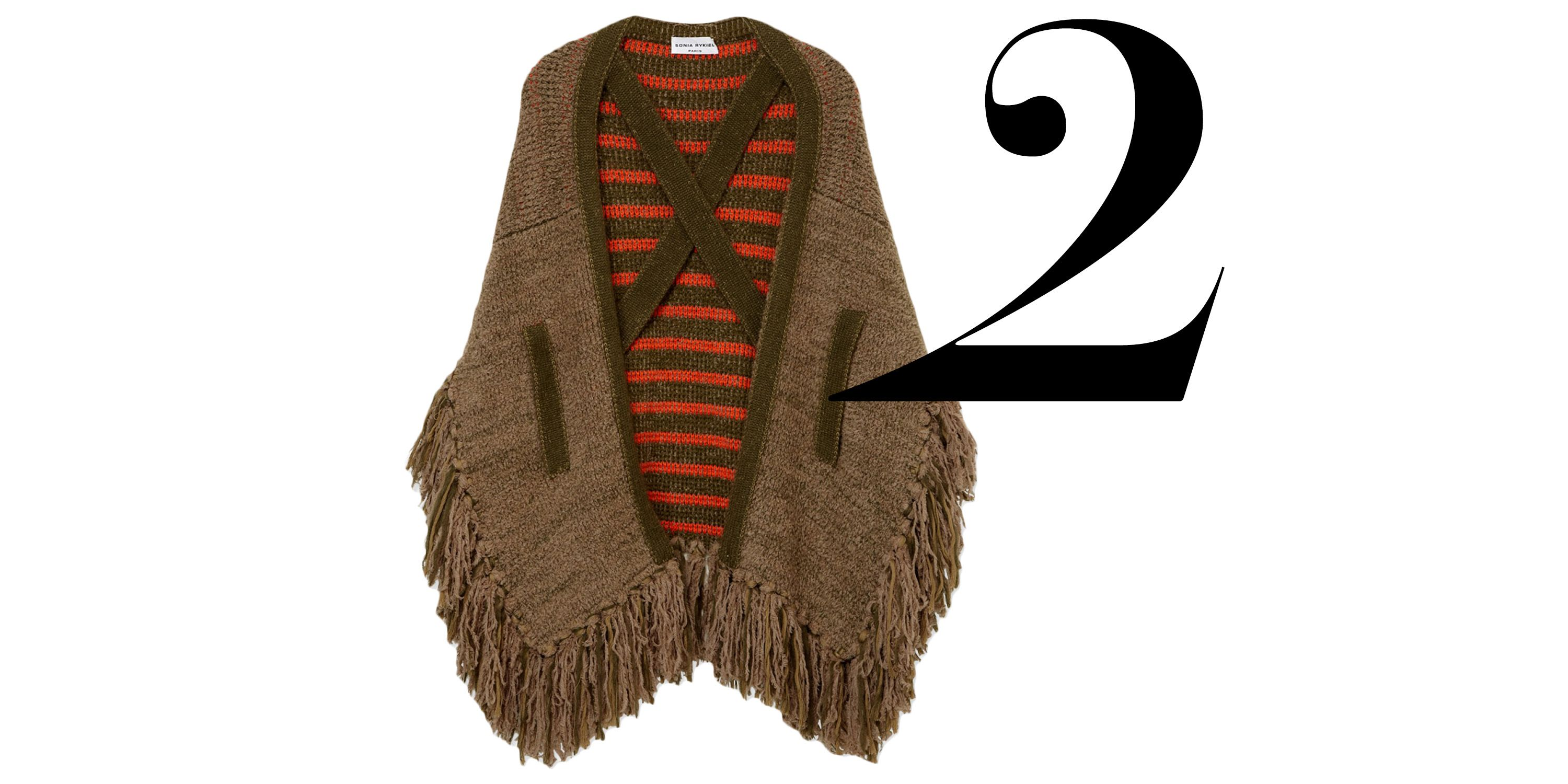 "The knit cape carries through to the new season, especially with the addition of boho fringe.  <em>Sonia Rykiel poncho, $1,210, <a href=""http://shop.harpersbazaar.com/designers/sonia-rykiel/fringed-knit-poncho/"" target=""_blank"">shopBAZAAR.com</a>.</em>"