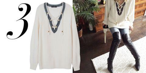 """<a href=""""http://instagram.com/kerrybazaar/"""">@kerrybazaar</a>  <em>Tibi sweater, $345, <a href=""""http://shop.harpersbazaar.com/designers/tibi/lace-up-pullover/"""">shopBAZAAR.com</a>.</em>"""