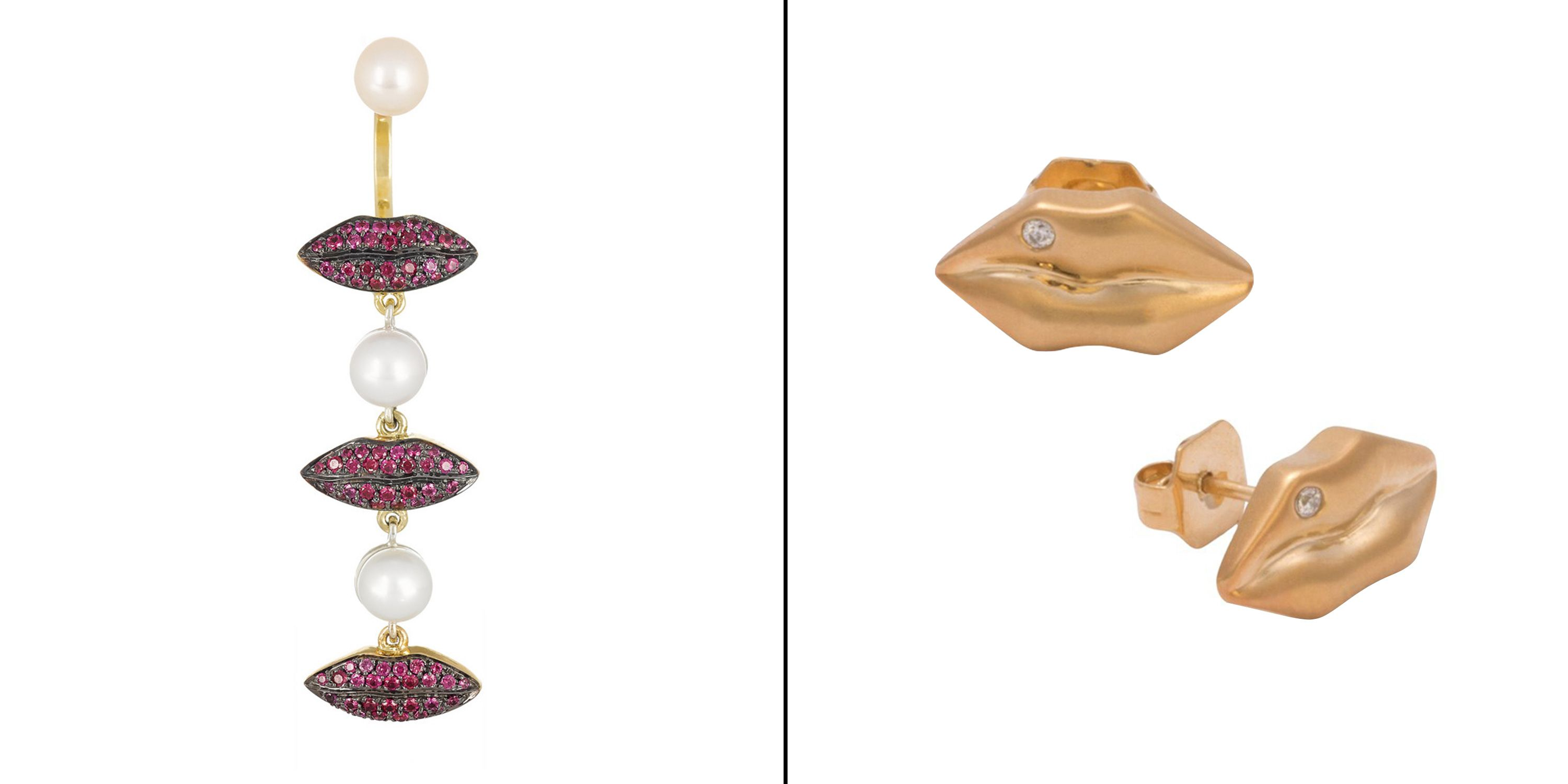 "<strong>Delfina Delettrez </strong>ruby and pearl earring, $5,662, <a href=""http://www.matchesfashion.com/product/211797"" target=""_blank"">matchesfashion.com</a>; <strong>Kelly Wearstler </strong>earrings, $165, <a href=""http://www.kellywearstler.com/JHOE14152.html?cgid=earrings&dwvar_JHOE14152_color=BURNG#start=1"" target=""_blank"">kellywearstler.com</a>."