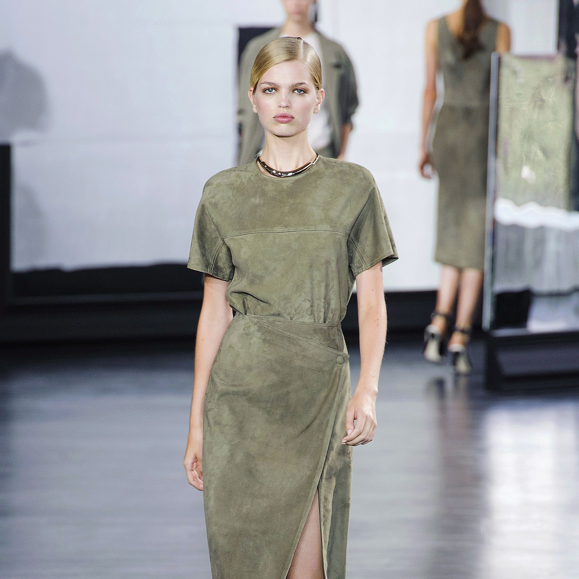 Attention! For spring, Marc Jacobs, Jason Wu (pictured left), Gucci and others are outfitting women with a modern twist on utilitarian style—with dresses in sleek satins and sumptuous suedes in shades of army green.&nbsp&#x3B;<em>Stylist Tip: Take this look into evening with a strappy shoe.&nbsp&#x3B;</em><em></em>