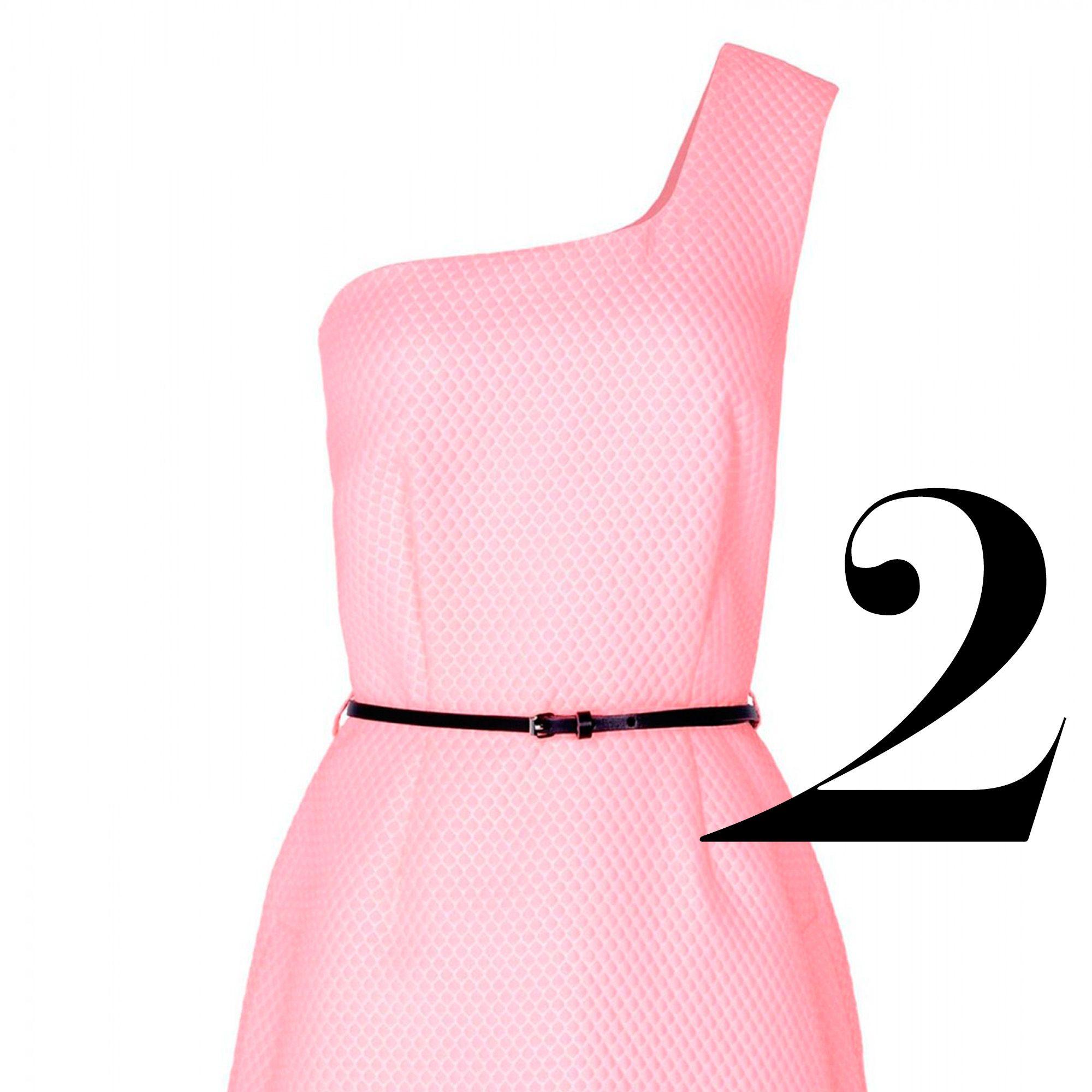 "<p><em>Victoria, Victoria Beckham dress, $860, <a href=""http://shop.harpersbazaar.com/clothing/dresses/pink-jacquard-one-shoulder-dress/"" target=""_blank"">shopBAZAAR.com</a>. </em></p>"