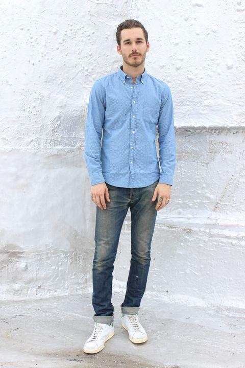 Clothing, Footwear, Blue, Dress shirt, Collar, Sleeve, Trousers, Denim, Shoulder, Shoe,
