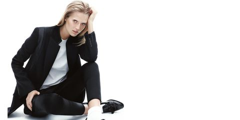 Sleeve, Trousers, Collar, Outerwear, Coat, Style, Sitting, Knee, Blazer, Jacket,