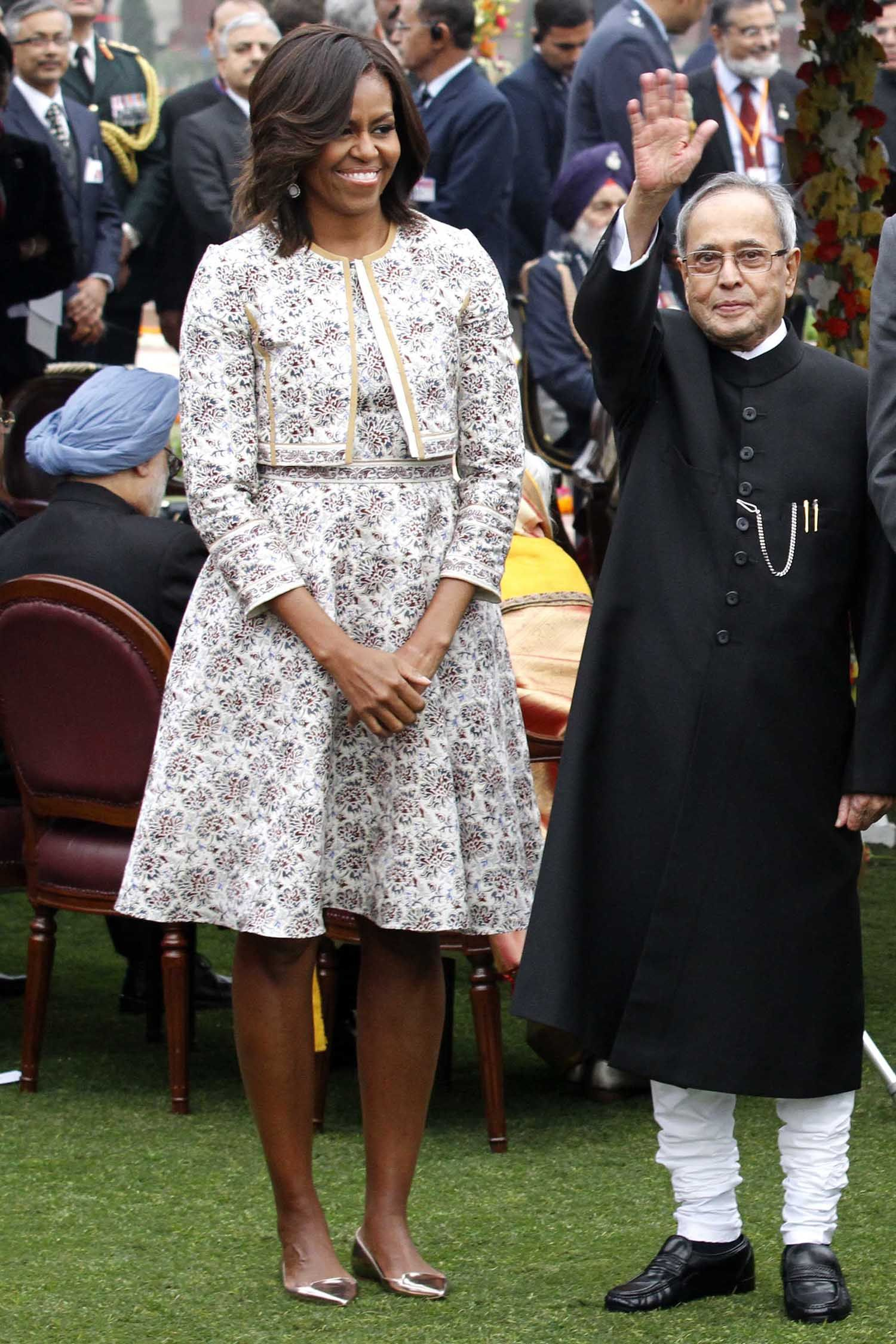 "NEW DELHI, INDIA - JANUARY 26: President Barack Obama along with his wife Michelle Obama, Prime Minister Narendra Modi, and President Pranab Mukherjee ""At Home"" Reception with several hundred political and cultural figures at the Rashtrapati Bhavan Presidential Palace on January 26, 2015 in New Delhi, India. Obama is on a three-day visit to India, who was the Chief Guest at Republic Day celebrations on the invite of Prime Minister Narendra Modi. He announced that the U.S. and India have made progress on civilian nuclear trade. He said the countries had agreed to more cooperation in other areas as well, including defense and climate change. (Photo by Virendra Singh Gosain/Hindustan Times via Getty Images)"